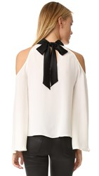 Ramy Brook Serena Blouse Soft White Black