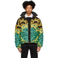 Versace Jeans Couture Reversible Black And Green Chain Print Puffer Jacket