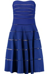 Mikael Aghal Bandeau Mesh Paneled Ribbed Stretch Jersey Dress Royal Blue