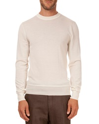 Berluti Leather Detail Crew Neck Sweater Ivory