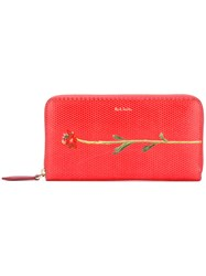 Paul Smith Flower Print Wallet Women Calf Leather One Size Red
