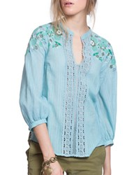 Plenty By Tracy Reese Embroidered Kurta Three Quarter Sleeve Blouse Big Sky