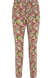 Equipment Hadley Floral Print Washed Silk Pants Fuchsia