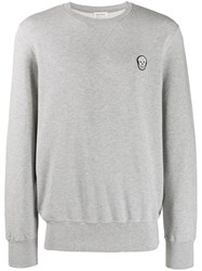 Alexander Mcqueen Skull Patch Sweatshirt Grey