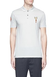 Lanvin Arrow And Floral Patch Polo Shirt Grey