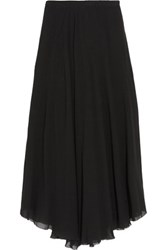 Etoile Isabel Marant Amery Pleated Chiffon Wrap Midi Skirt Black