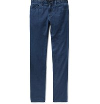 Brioni Livigno Slim Fit Cotton And Silk Blend Denim Jeans Blue