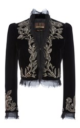 Roberto Cavalli Embroidered Cropped Jacket Black