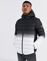 Good For Nothing Hooded Puffer Jacket In Gradient Black