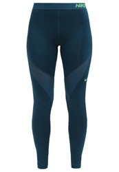 Nike Performance Pro Hypercool Tights Midnight Turquoise Light Green Spark