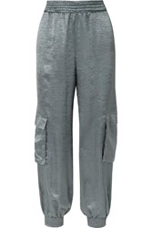Sally Lapointe Crinkled Satin Track Pants Sky Blue