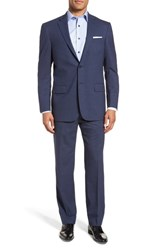Hart Schaffner Marx Big And Tall New York Classic Fit Stretch Solid Wool Suit Navy