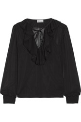 Red Valentino Redvalentino Ruffled Stretch Silk Chiffon Blouse Black