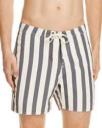 Saturdays Surf Nyc Colin Striped Board Shorts Ivory Charcoal