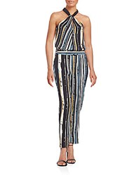 Ella Moss Rainforest Striped Jumpsuit Rainforest Black