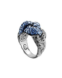 John Hardy Classic Chain Silver Lava Large Braided Ring With Blue Sapphire