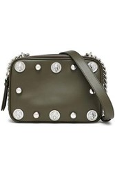 Versus By Versace Studded Leather Shoulder Bag Army Green