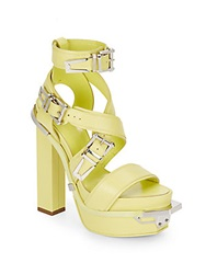 Versace Leather Buckle Platform Sandals Green Natural