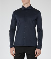 Reiss Chapter Mens Casual Cotton Shirt In Blue