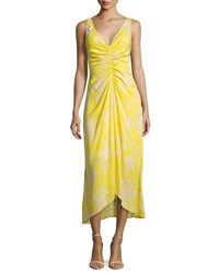 A.L.C. Katherina Sleeveless Maxi Dress Yellow Pattern