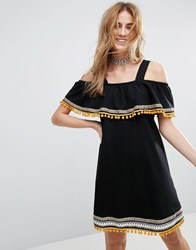 Asos Cold Shoulder Sundress With Embroidery And Pom Poms Black