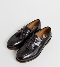Hudson H By Wide Fit Calne Loafers In Burgundy High Shine Red