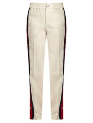 Gucci Striped Side Wool And Silk Blend Trousers Cream