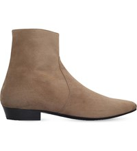 Saint Laurent Devon Suede Ankle Boots Tan