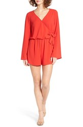 Mimi Chica Women's Wrap Front Romper Red