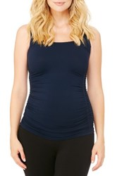 Ingrid And Isabelr Women's Isabel Seamless Ruched Maternity Tank Midnight