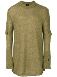 Lost And Found Ria Dunn Straps Detail Jumper Men Linen Flax Nylon Mohair Wool L Green