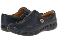 Clarks Un.Loop Navy Leather Women's Slip On Shoes Blue