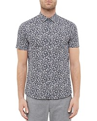 Ted Baker Thorshr Floral Print Regular Fit Button Down Shirt Navy