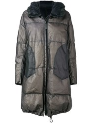 Isaac Sellam Experience Hooded Leather Puffer Coat Grey