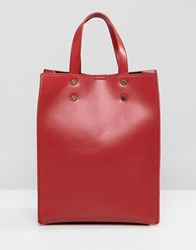 Pieces Mini Shopper Bag With Cross Body Strap Red