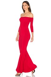 Norma Kamali Off The Shoulder Fishtail Gown Red