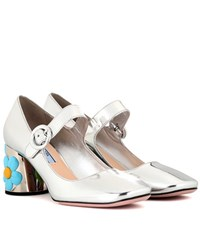 Prada Metallic Leather Mary Jane Pumps Silver