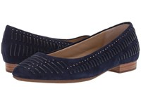 Hush Puppies Phoebe Ladder Stud Royal Navy Suede Flat Shoes Blue