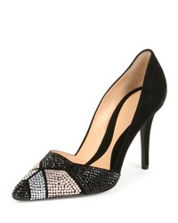 Giorgio Armani Crystal Embellished Suede 95Mm Pump Black Nr Chryst. Gol.Q