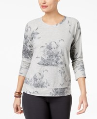 Style And Co Floral Print Sweatshirt Created For Macy's Asymmetrical Flowers