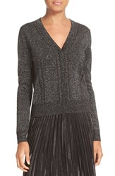 Diane Von Furstenberg Women's Adelyn Metallic Knit Cardigan Black Silver