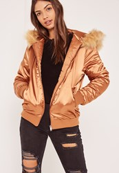 Missguided Bronze Satin Faux Fur Hood Padded Bomber Jacket
