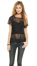 For Love And Lemons Rosette Lace Top Black