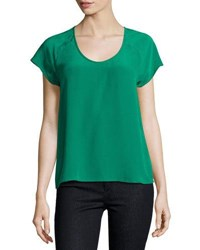 Joie Bellona Silk Short Sleeve Top Green