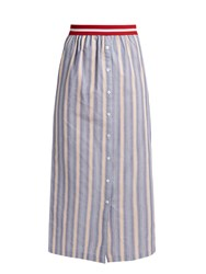 Stella Jean Nobile Striped Cotton Poplin Maxi Skirt Blue Multi
