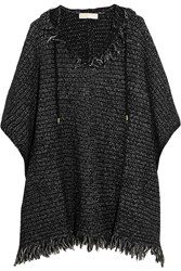 Michael Michael Kors Fringed Knitted Hooded Poncho Black