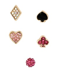 Betsey Johnson Casino Royale Pave Heart And Clover Five Stud Earring Set Pink