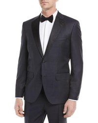 Boss Tonal Plaid Peak Lapel Slim Tuxedo Set Navy