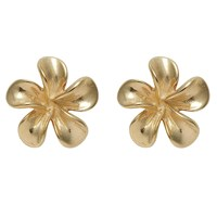 Nina B 9Ct Yellow Gold Flower Stud Earrings Gold
