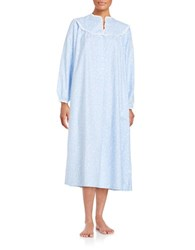 Lanz Printed Split V Ballet Nightgown Blue